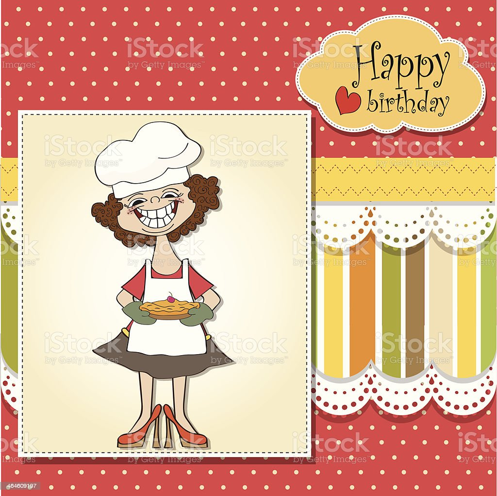 birthday greeting card with funny woman and pie vector art illustration