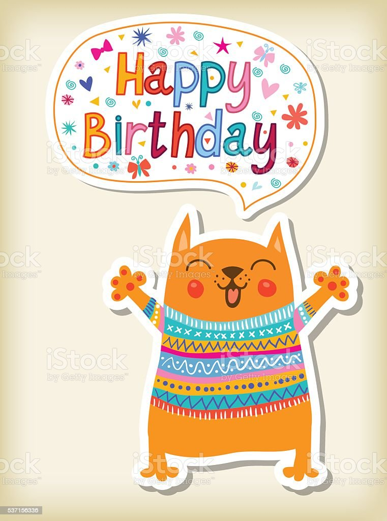 birthday greeting with funny animals royalty-free stock vector art