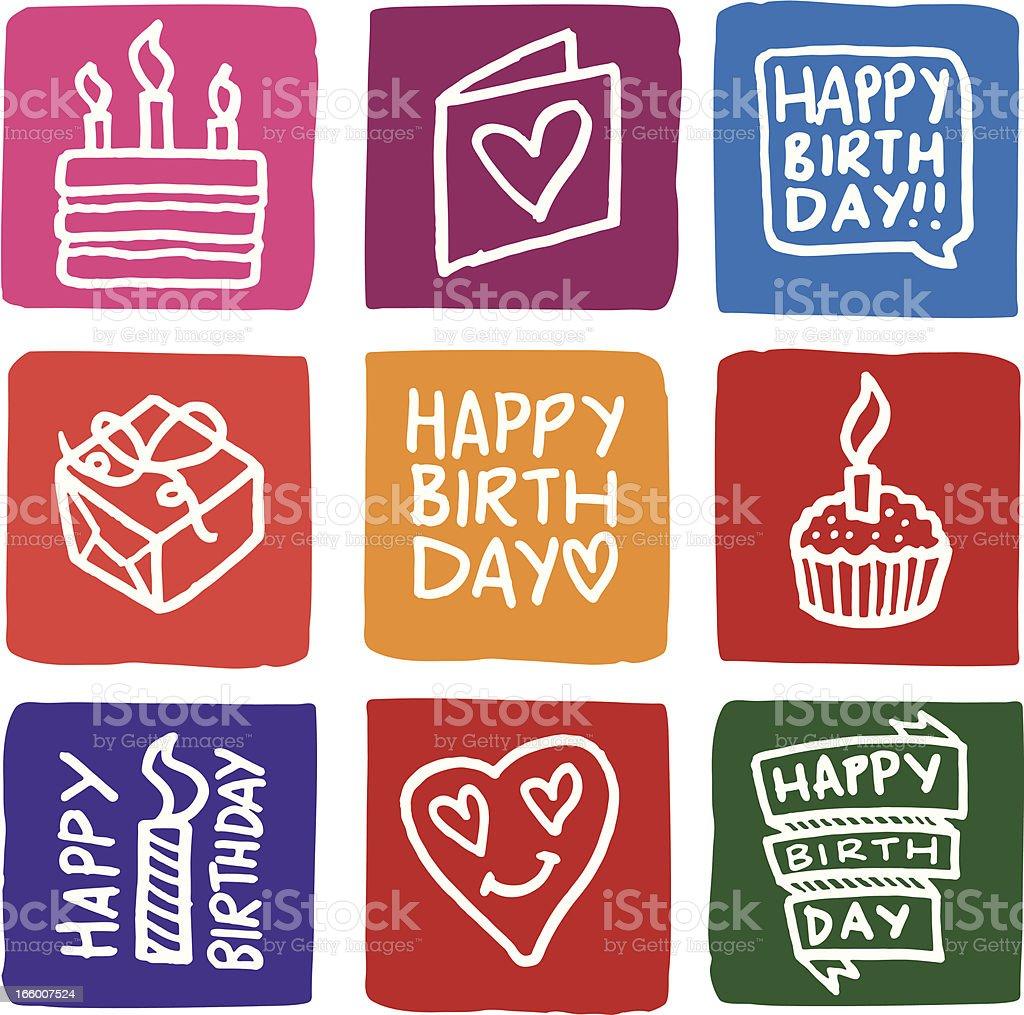 Birthday Icons block icon set royalty-free stock vector art
