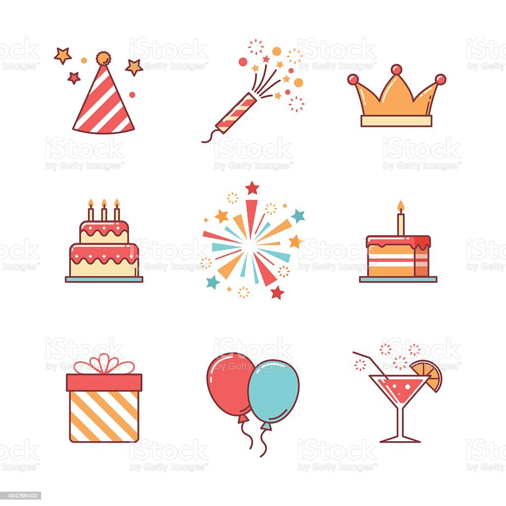 Birthday icons thin line set vector art illustration