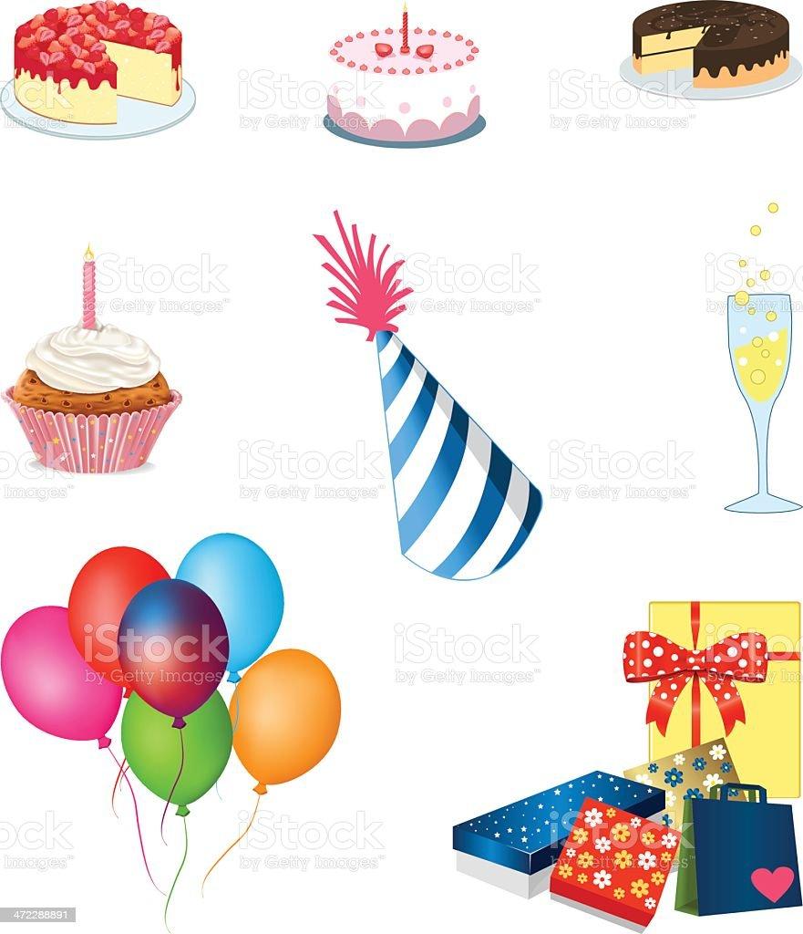Birthday icons royalty-free stock vector art