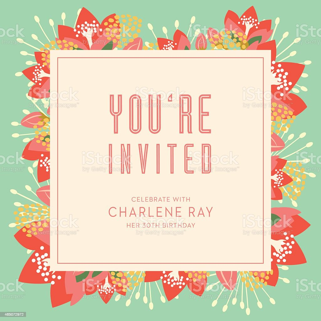 Birthday Invitation Card With Text And Floral Background stock – Birthday Invitation Background
