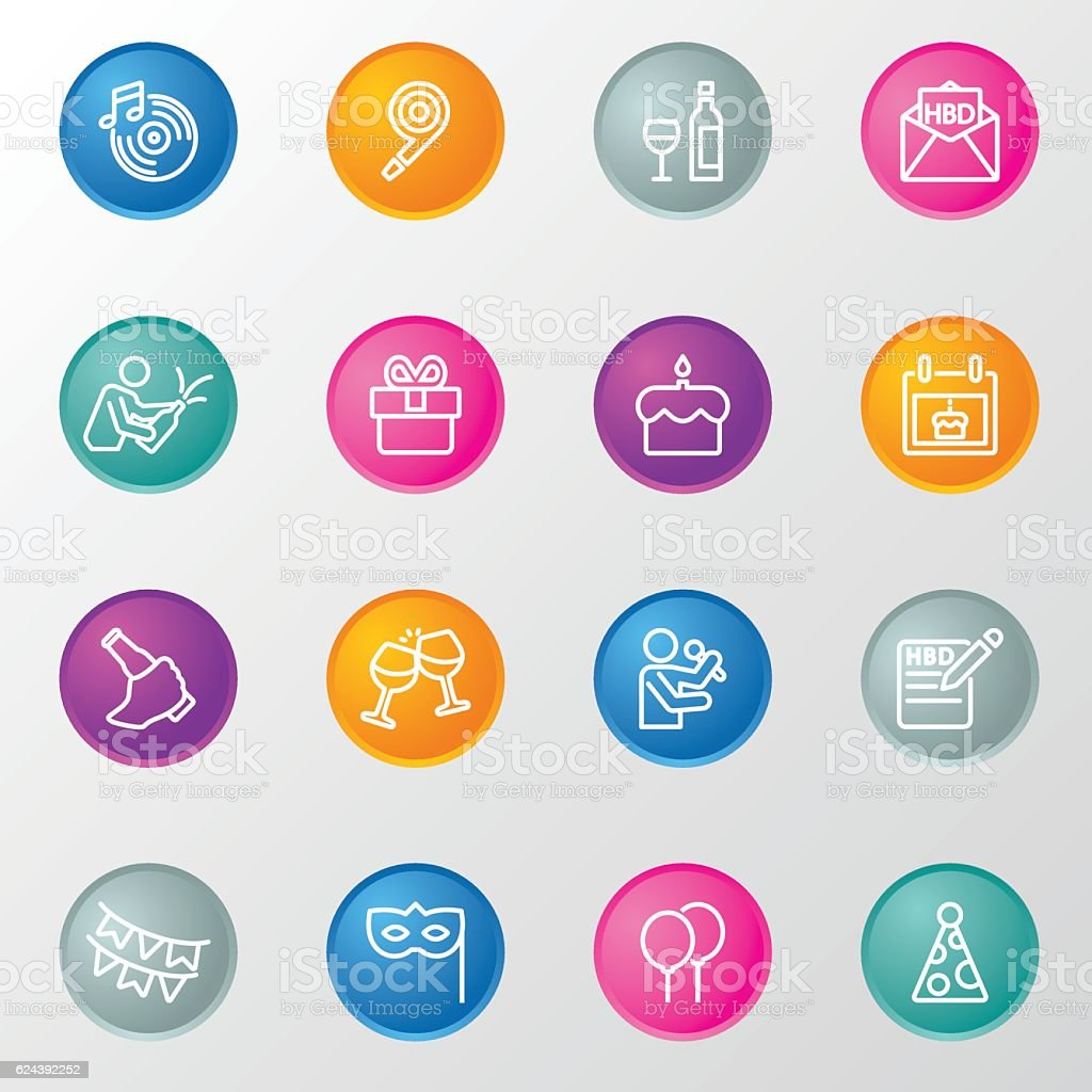 Birthday Line Circle Color Icons vector art illustration