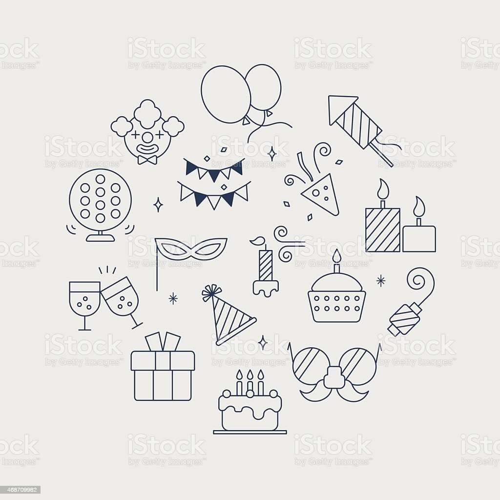 Birthday line icon circle set vector art illustration