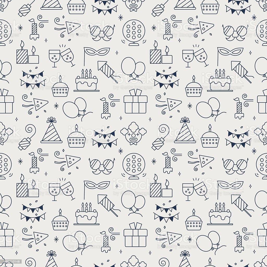 Birthday line icon pattern set vector art illustration