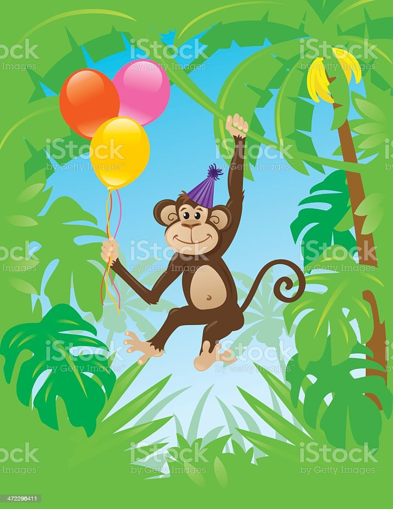 Birthday Monkey royalty-free stock vector art