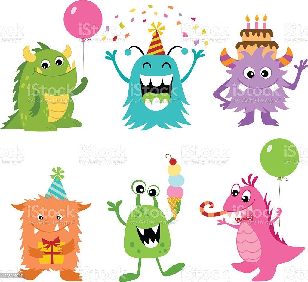 Birthday monsters vector art illustration