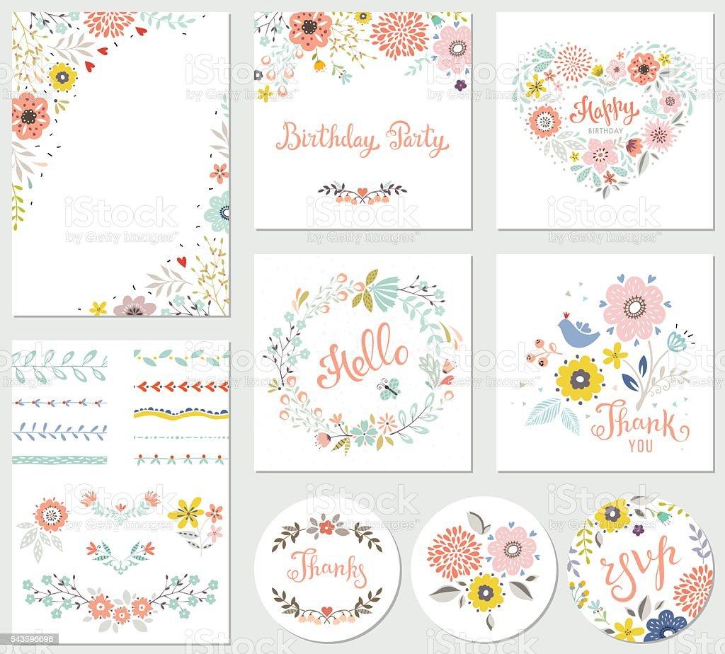 Birthday Parti Floral Set vector art illustration