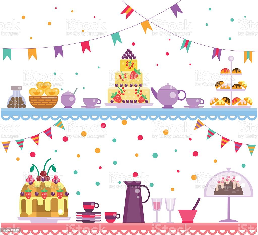 Birthday party. Cake and drinks vector art illustration