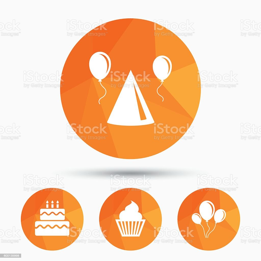 Birthday party. Cake, balloon, hat and muffin. vector art illustration