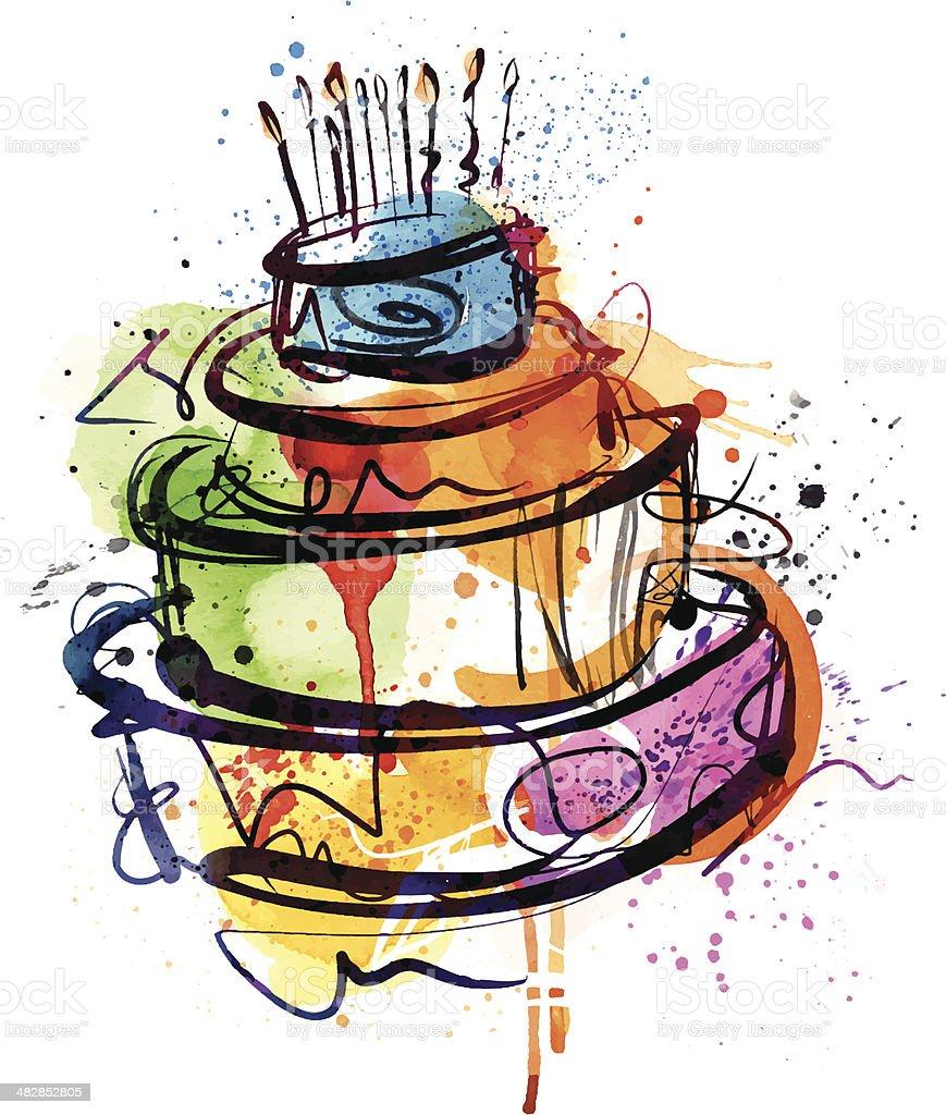 Birthday Party Cake vector art illustration