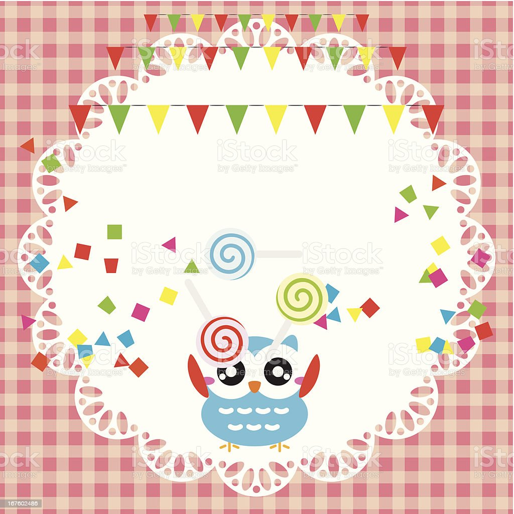 Birthday party card with cute owl royalty-free stock vector art