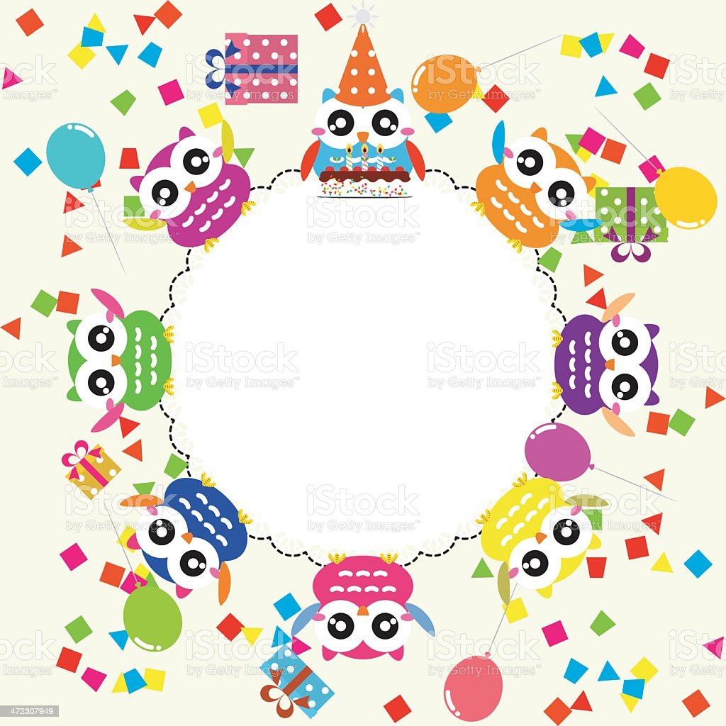 Birthday party card with funny owls royalty-free stock vector art