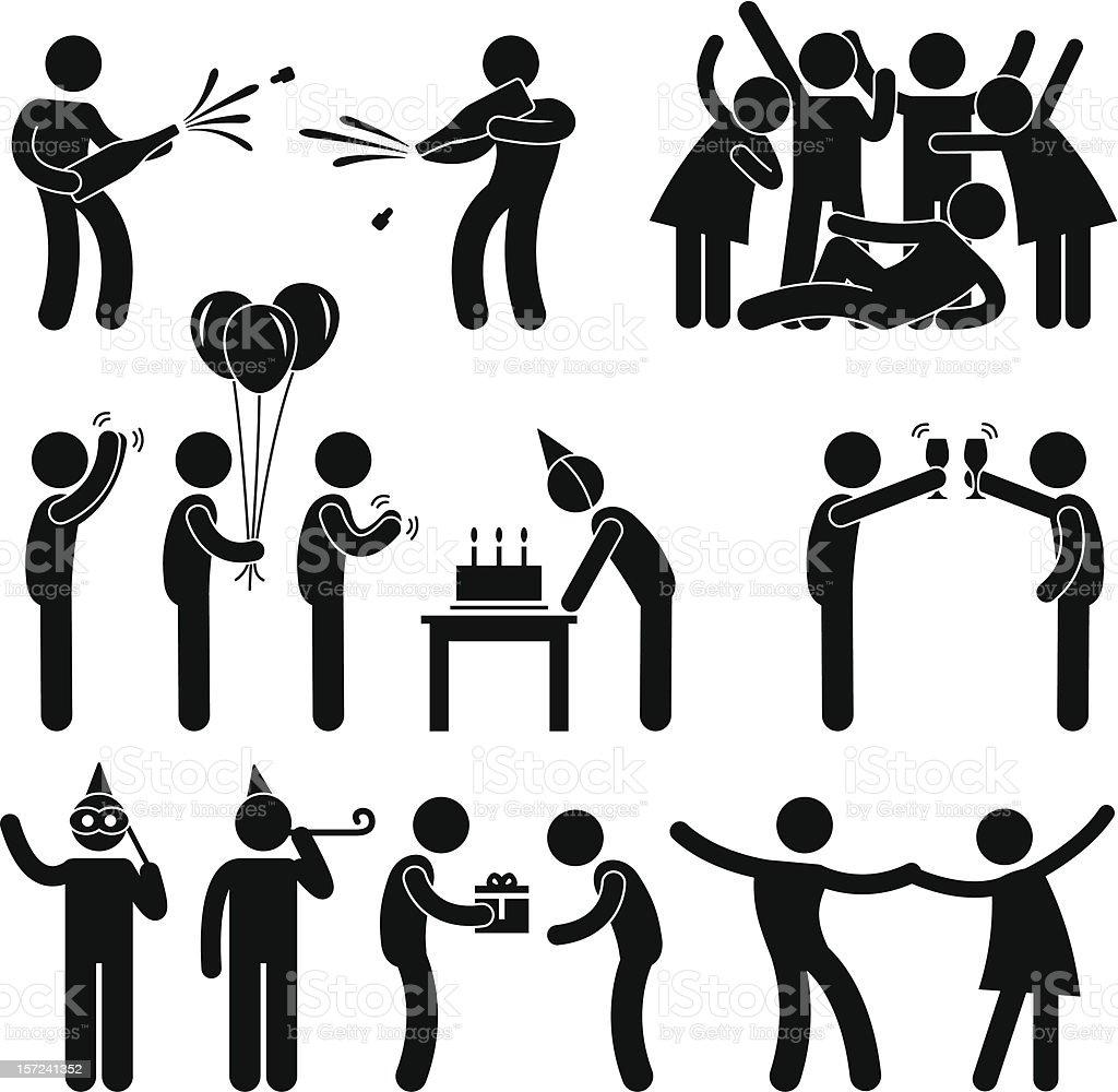 Birthday Party Celebration Pictogram vector art illustration