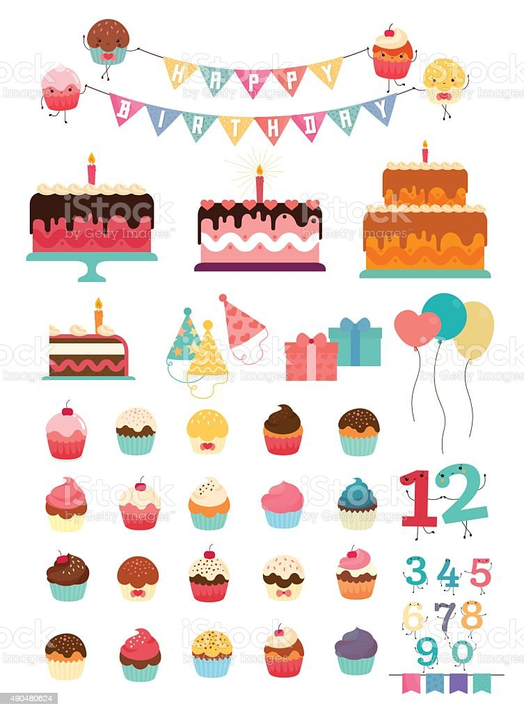 Birthday party elements vector art illustration