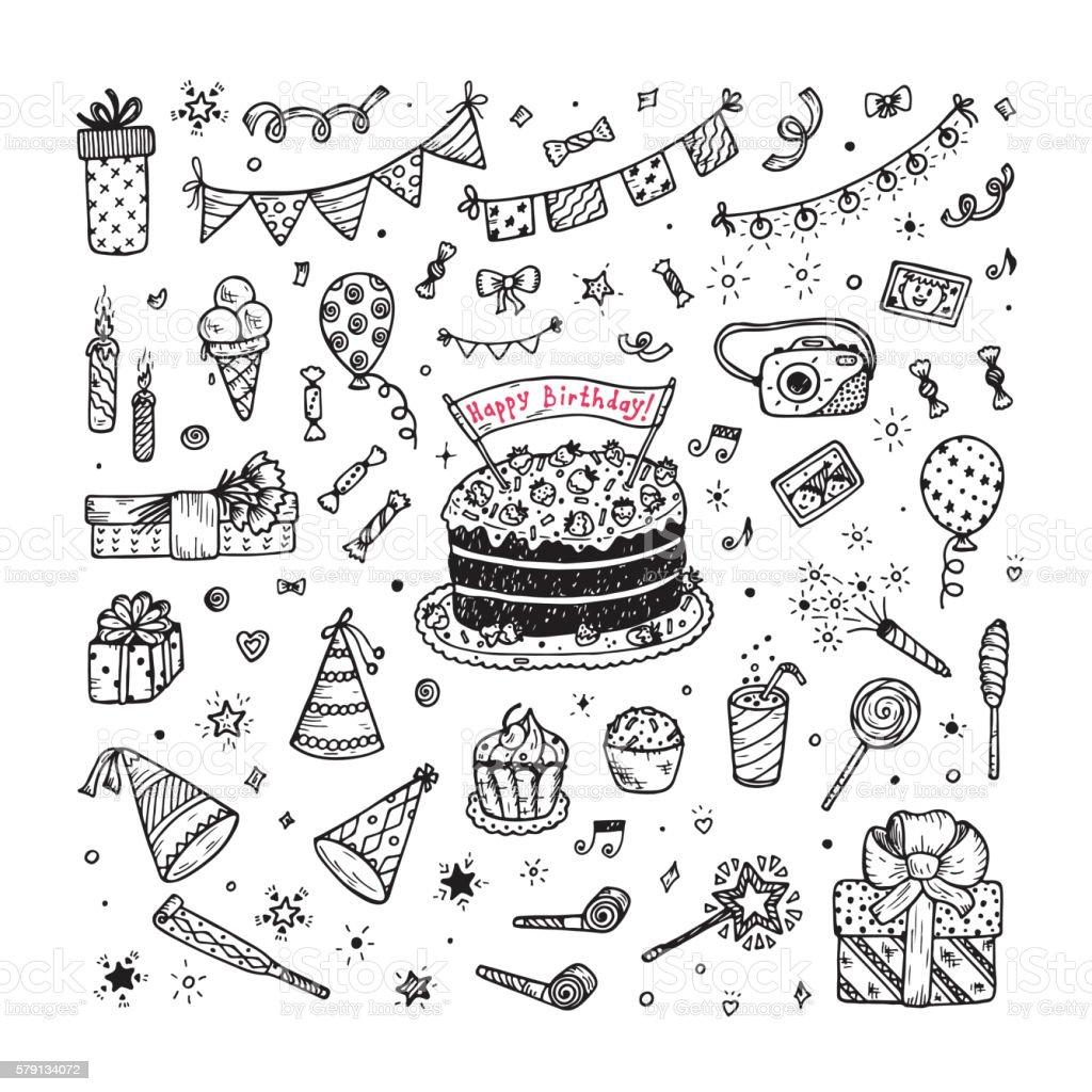 Birthday party elements vector set. Happy birthday. Doodle birthday cake vector art illustration