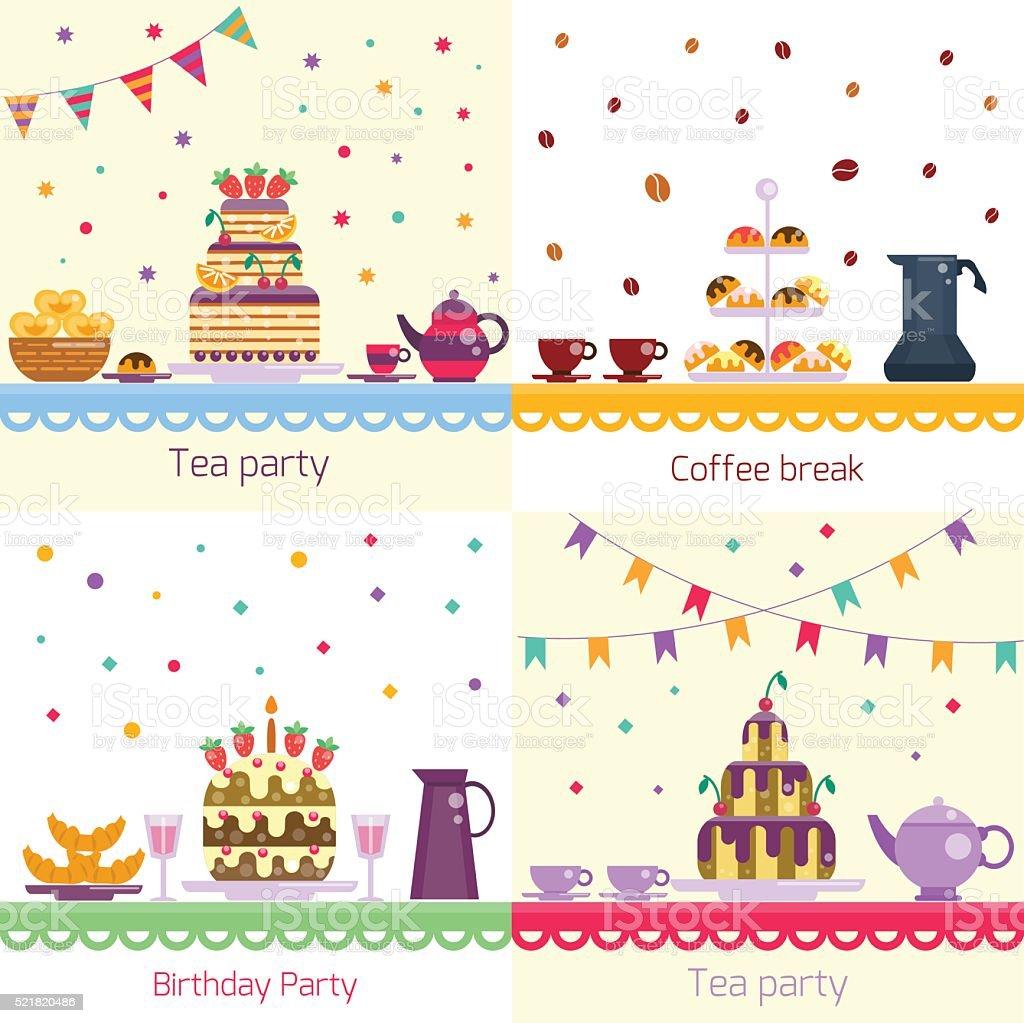 Birthday party. Festive celebration table vector art illustration