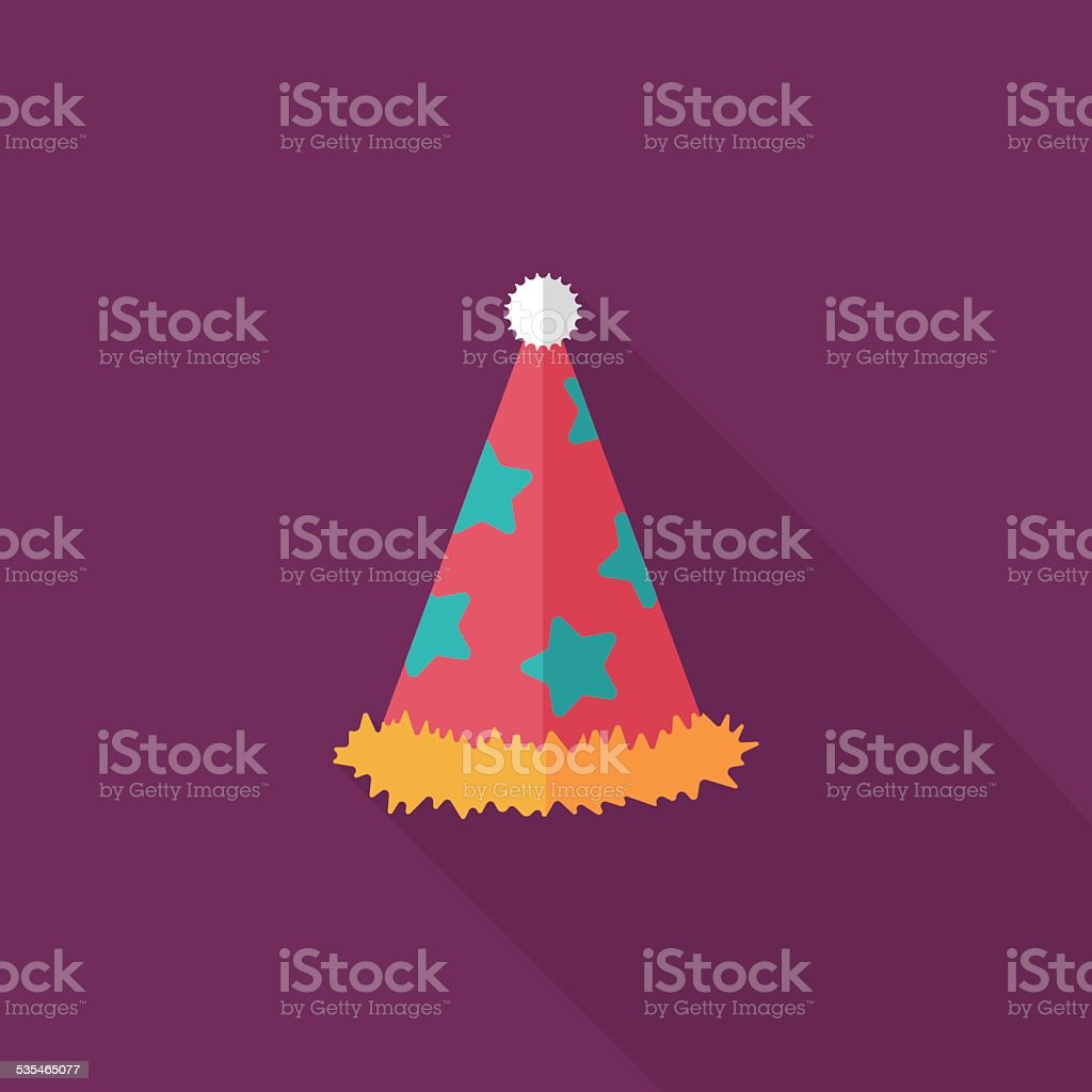 birthday party hat flat icon with long shadow,eps10 vector art illustration