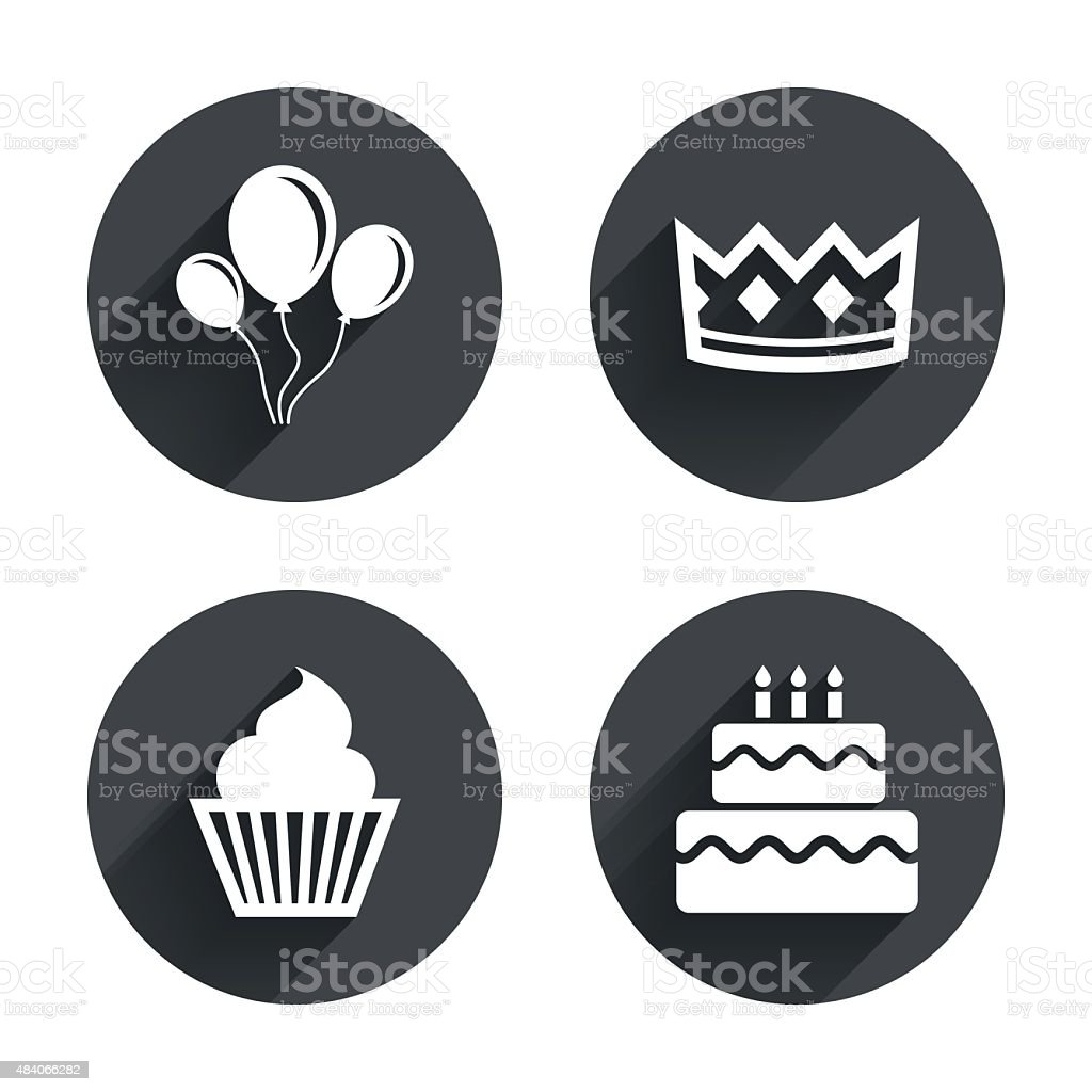 Birthday party icons. Cake and cupcake symbol vector art illustration