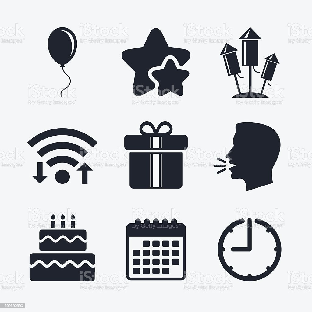 Birthday party icons. Cake and gift box symbol vector art illustration