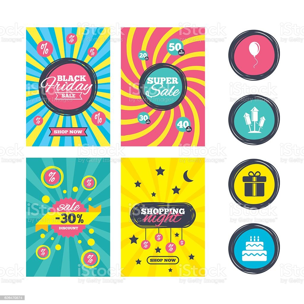 Birthday party icons. Cake and gift box symbol. vector art illustration