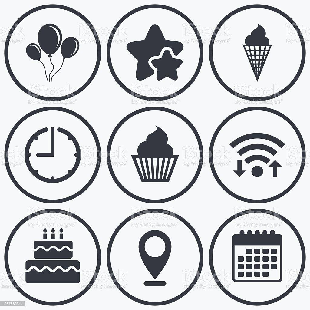 Birthday party icons. Cake with ice cream symbol vector art illustration