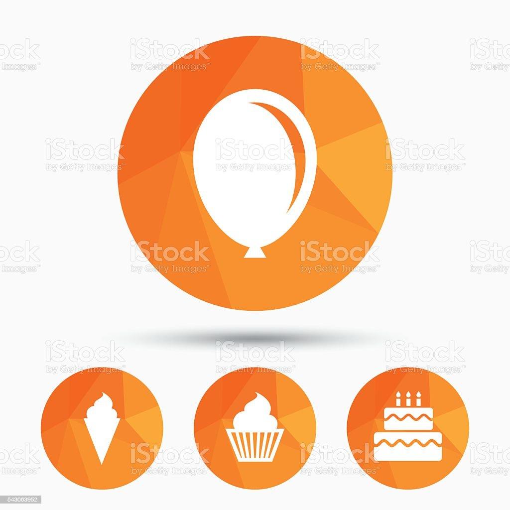 Birthday Party Icons Cake With Ice Cream Symbol Stock Vector Art