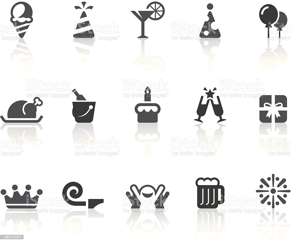 Birthday Party Icons | Simple Black Series royalty-free stock vector art