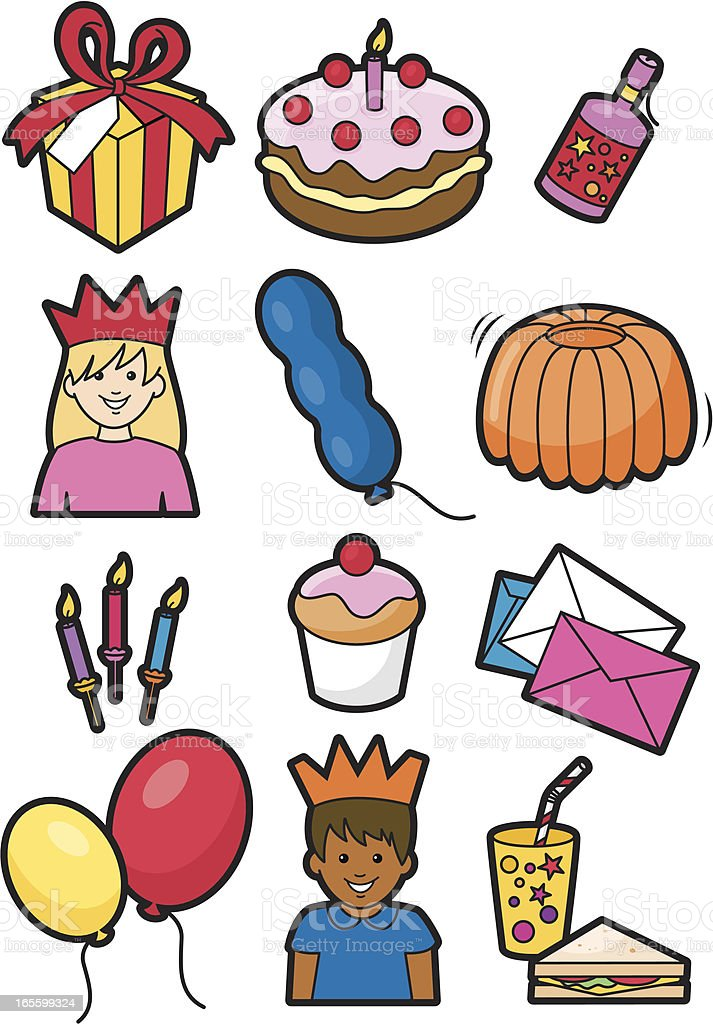 Birthday party icons royalty-free stock vector art