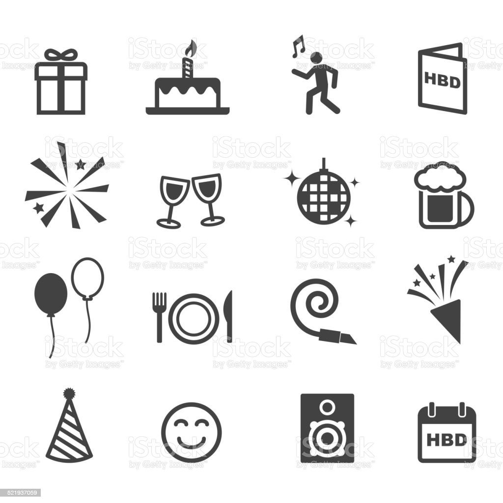 birthday party icons vector art illustration