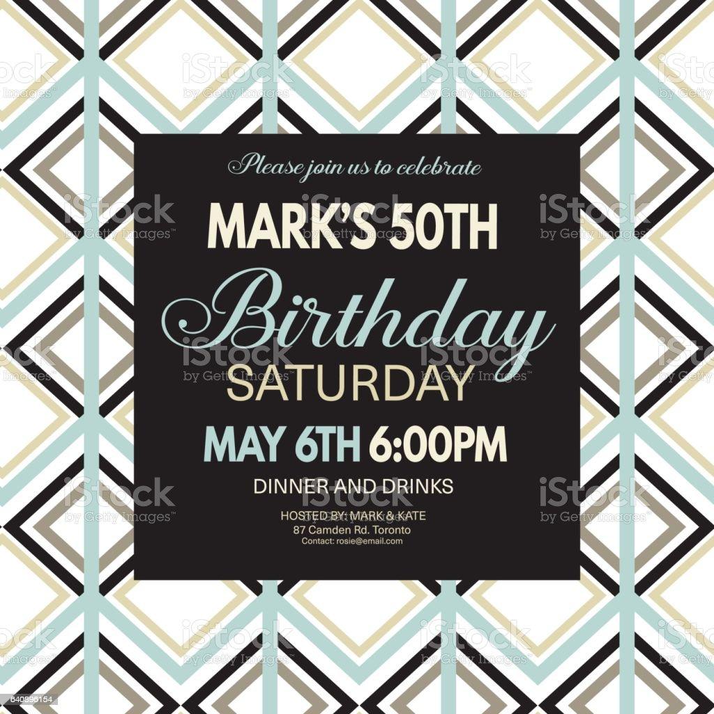 Birthday party Invitation Template On A Bold Geometric Pattern. vector art illustration