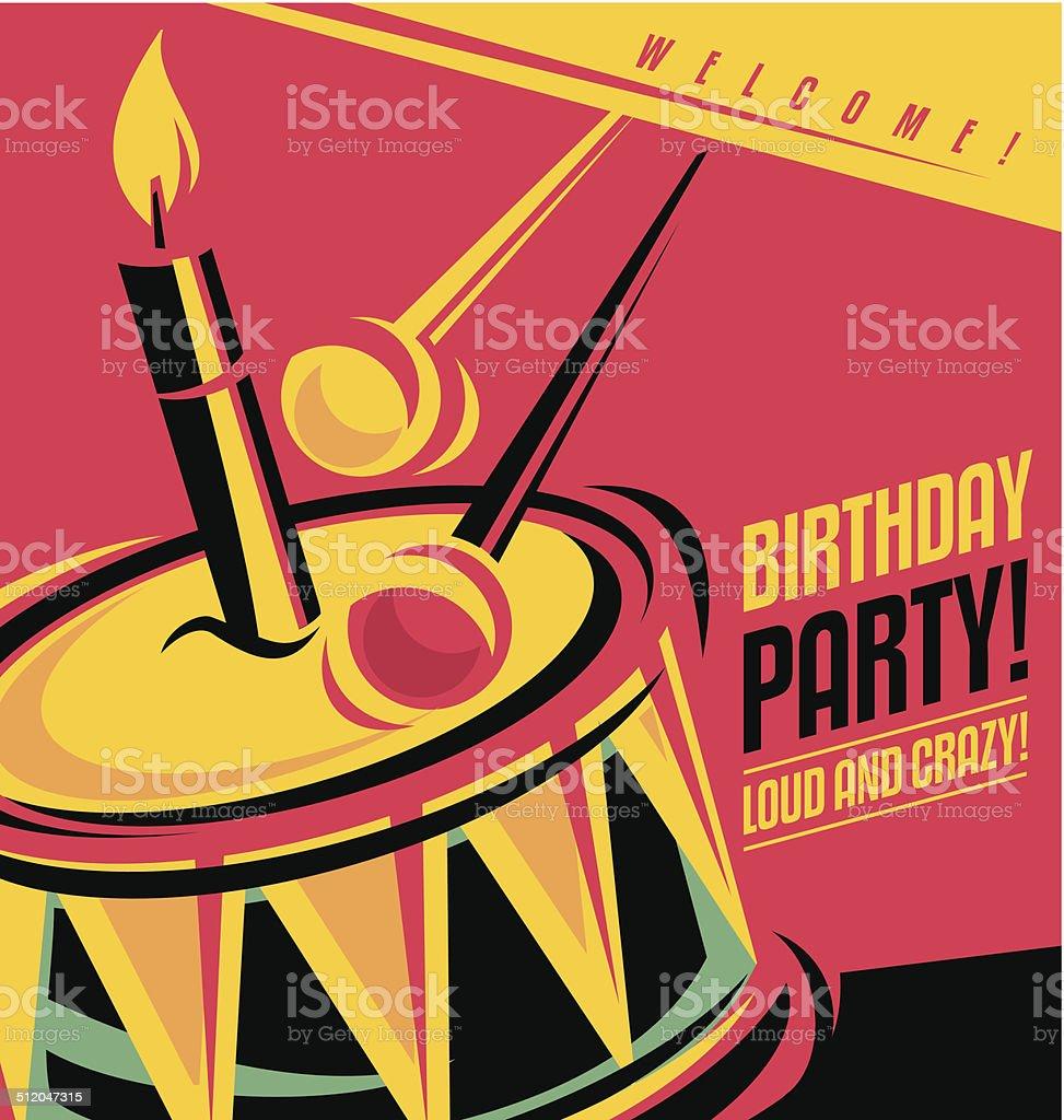 Birthday party invitation template vector art illustration