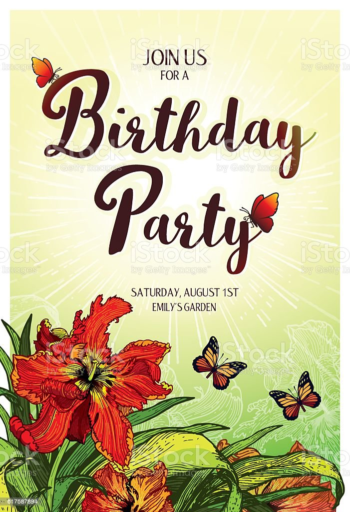 Birthday Party Invitation vertical card 10.4x15.2 cm Red Parrot Tulips vector art illustration