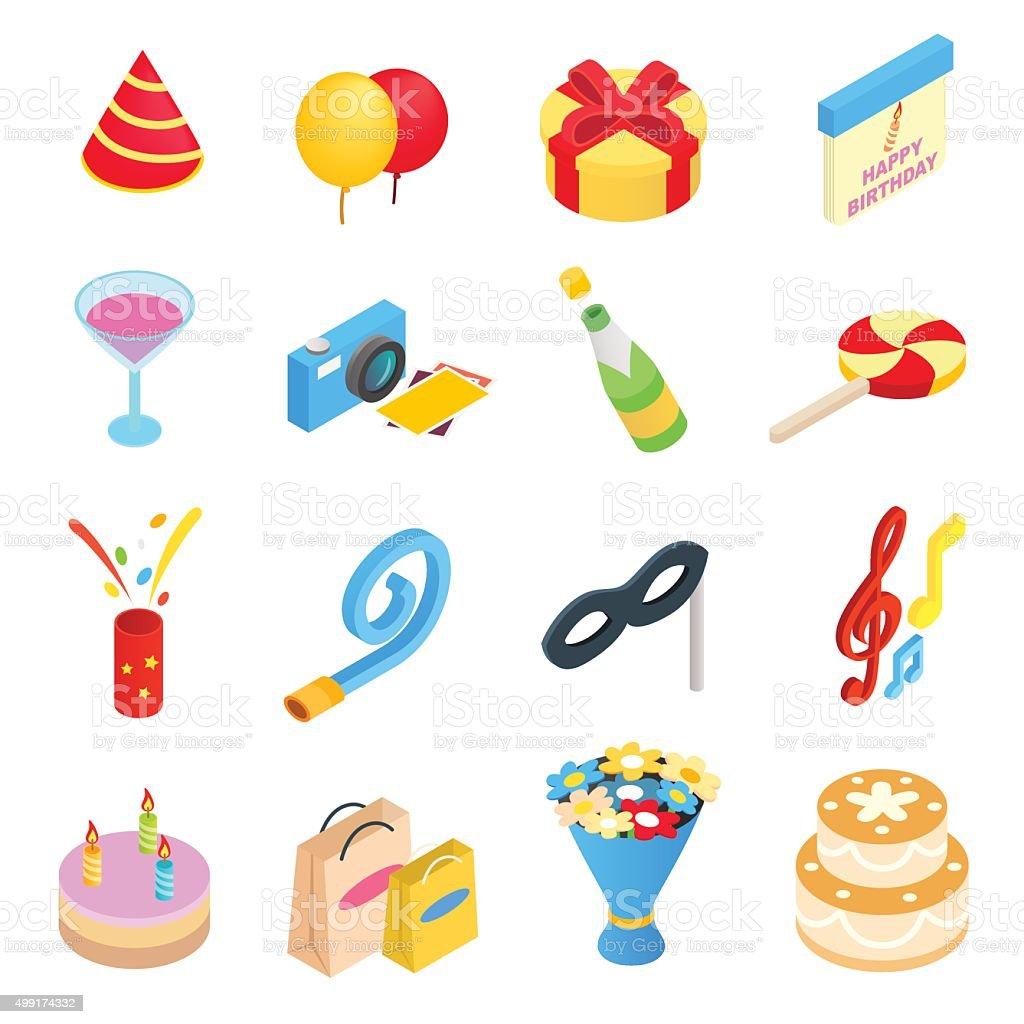 Birthday party isometric icons vector art illustration