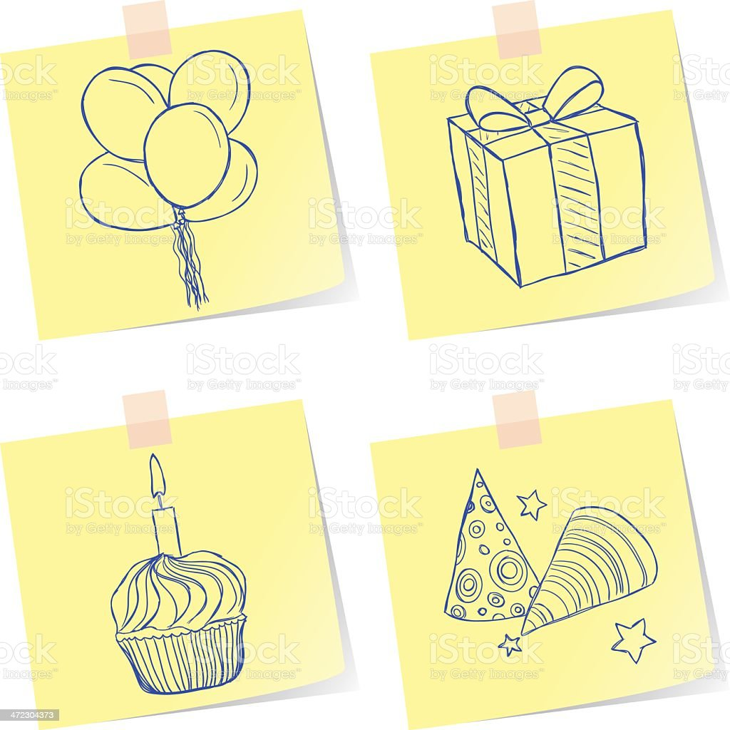 Birthday party sketches royalty-free stock vector art