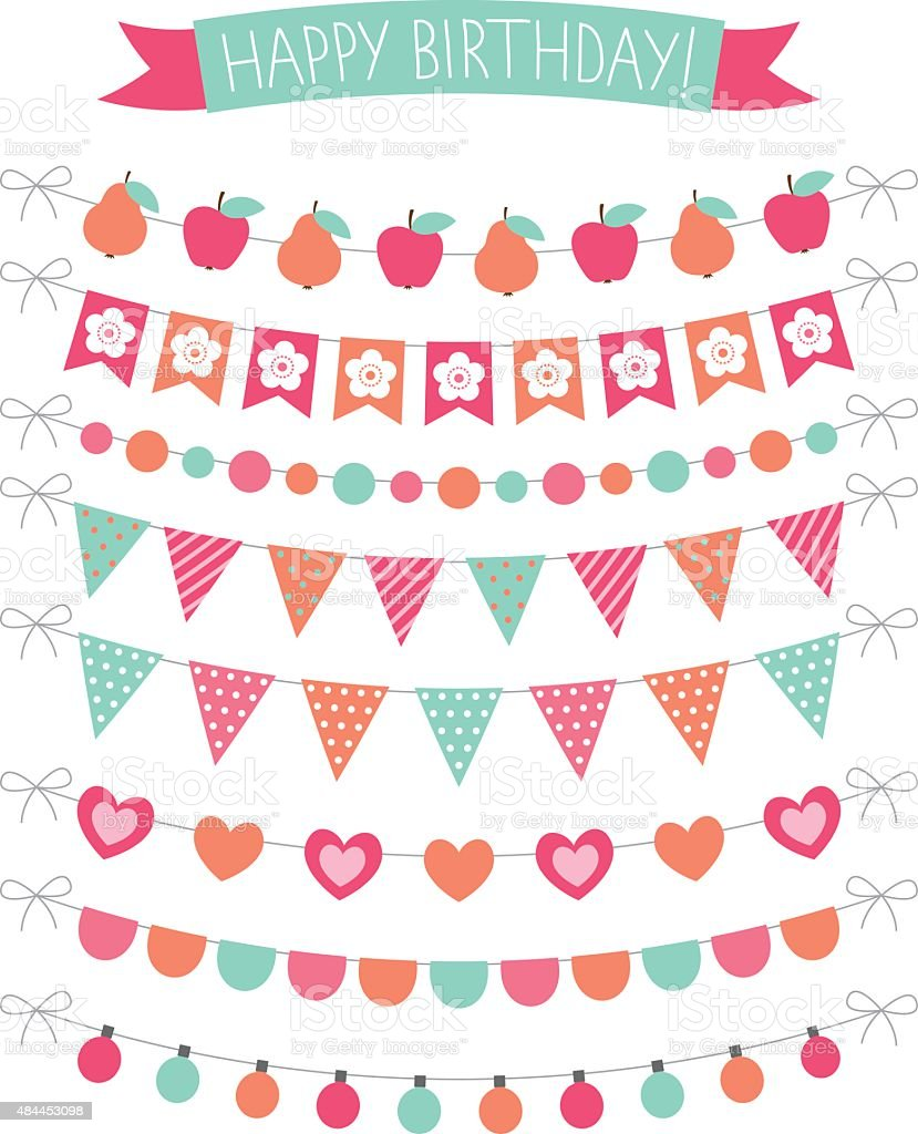 Birthday Party Vector Decoration Set Stock Vector Art