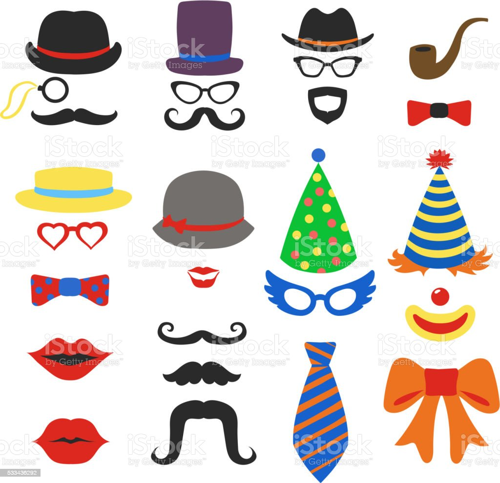 Birthday party vector photo booth props - Glasses, hats, lips, vector art illustration