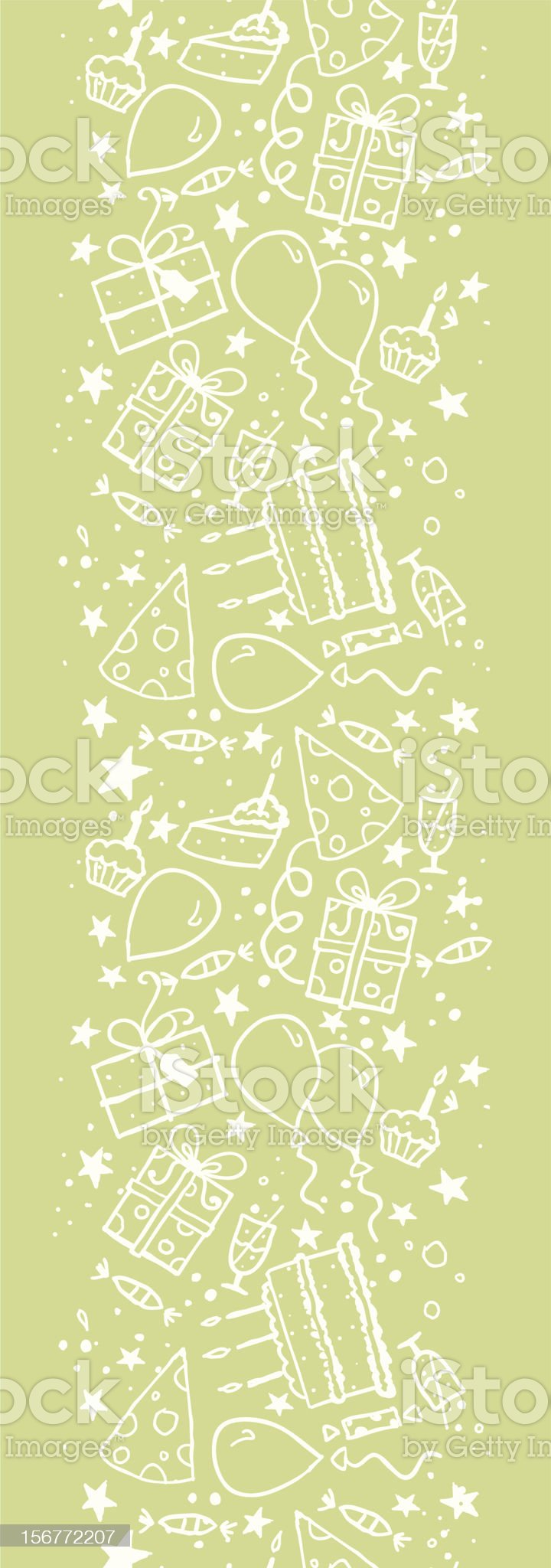 Birthday Party Vertical Seamless Pattern Ornament royalty-free stock vector art
