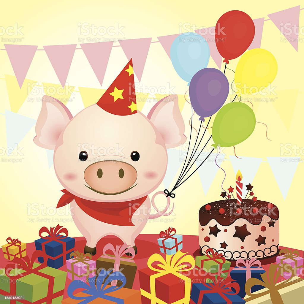 Birthday party with a cute pig and gifts royalty-free stock vector art