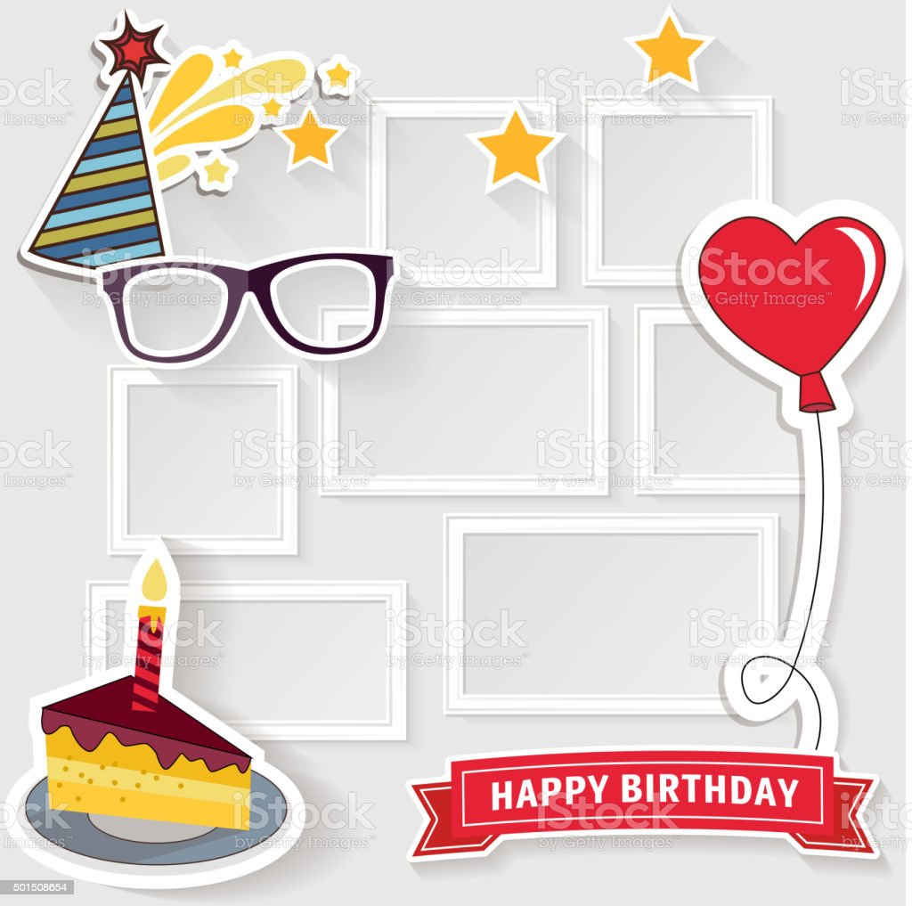 Birthday photo frame vector art illustration