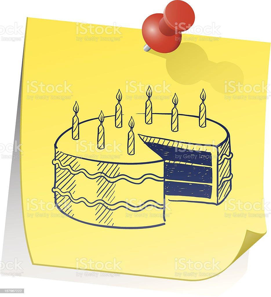 Birthday reminder sticky note sketch vector art illustration
