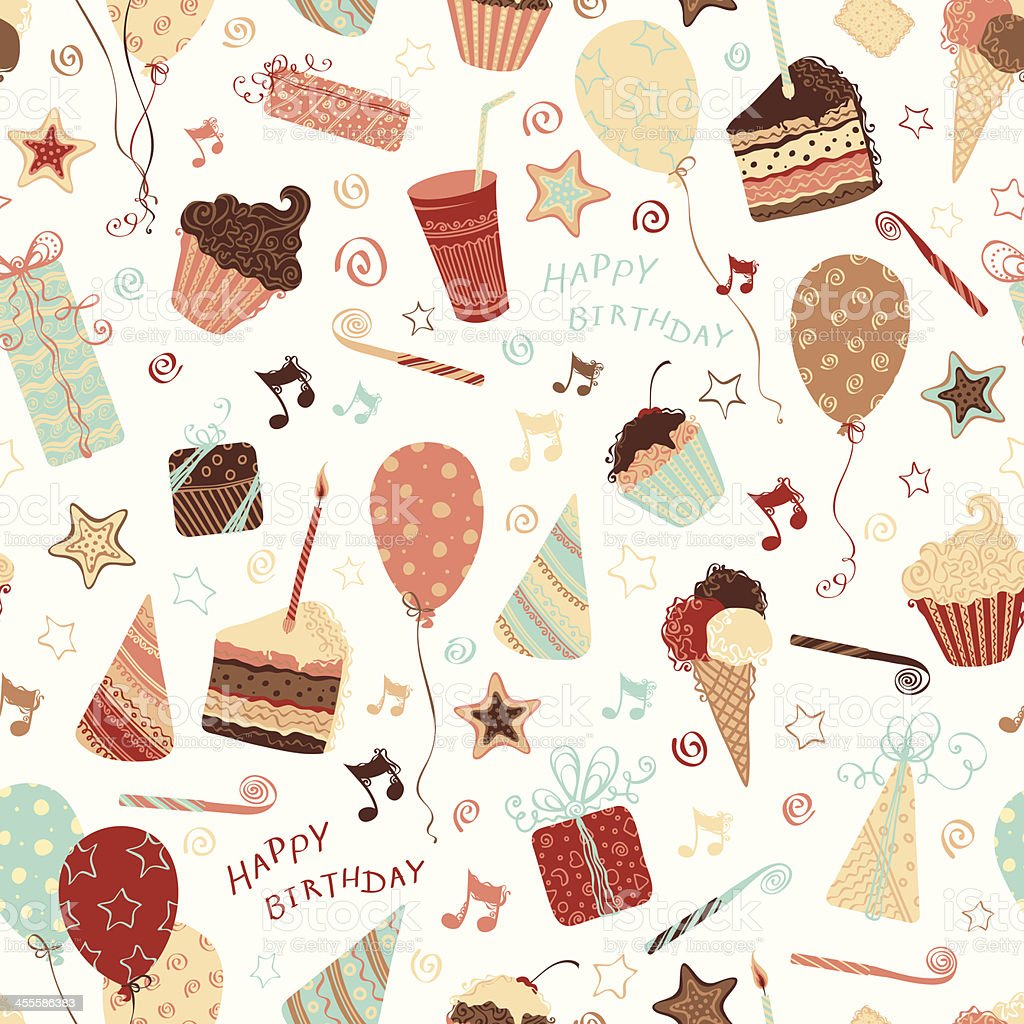 Birthday seamless pattern vector art illustration