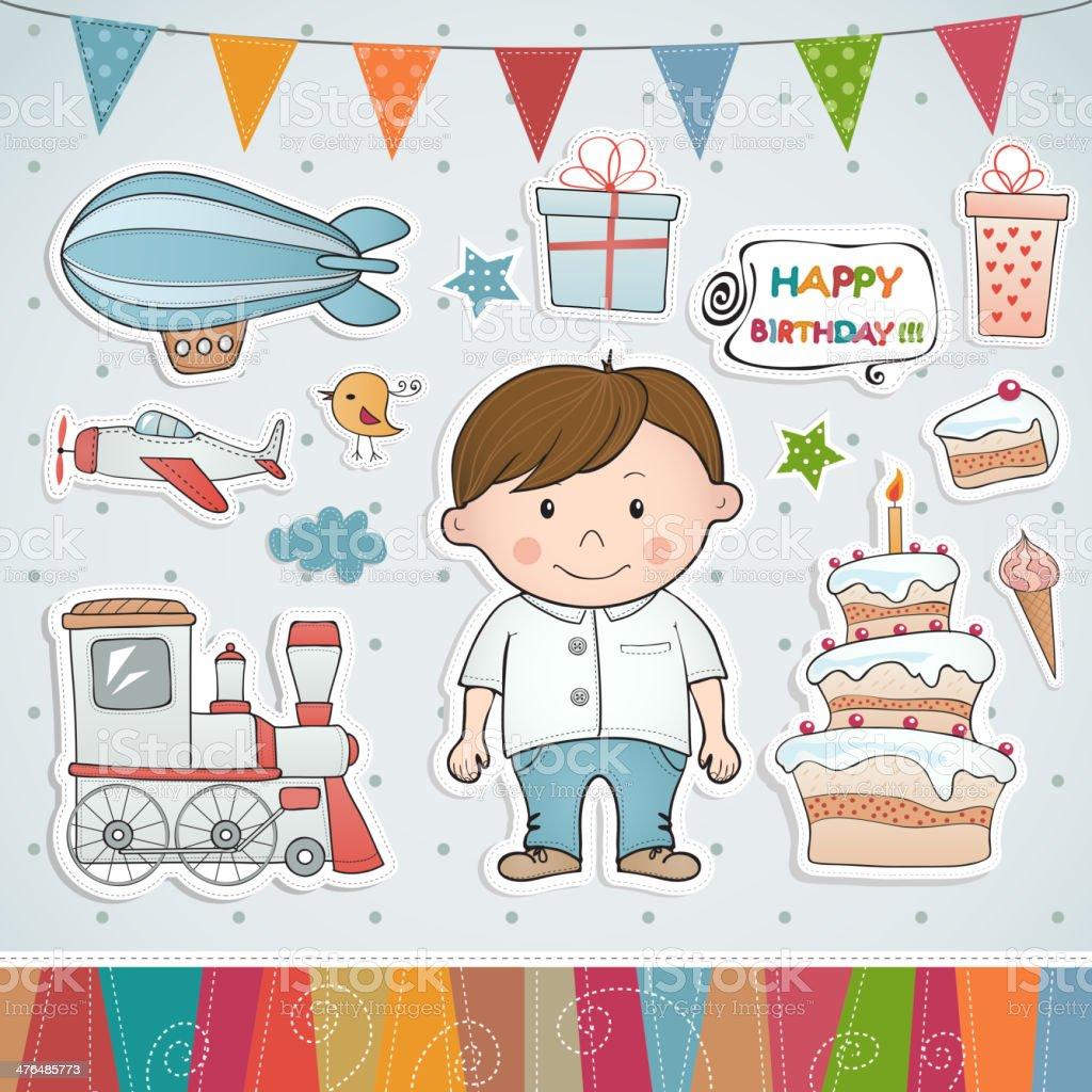 Birthday set with little boy. vector art illustration