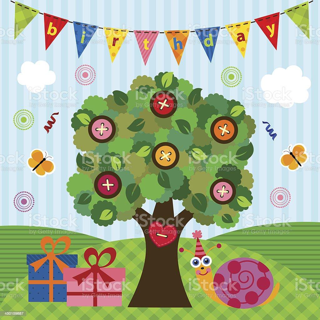 birthday snail under the tree royalty-free stock vector art