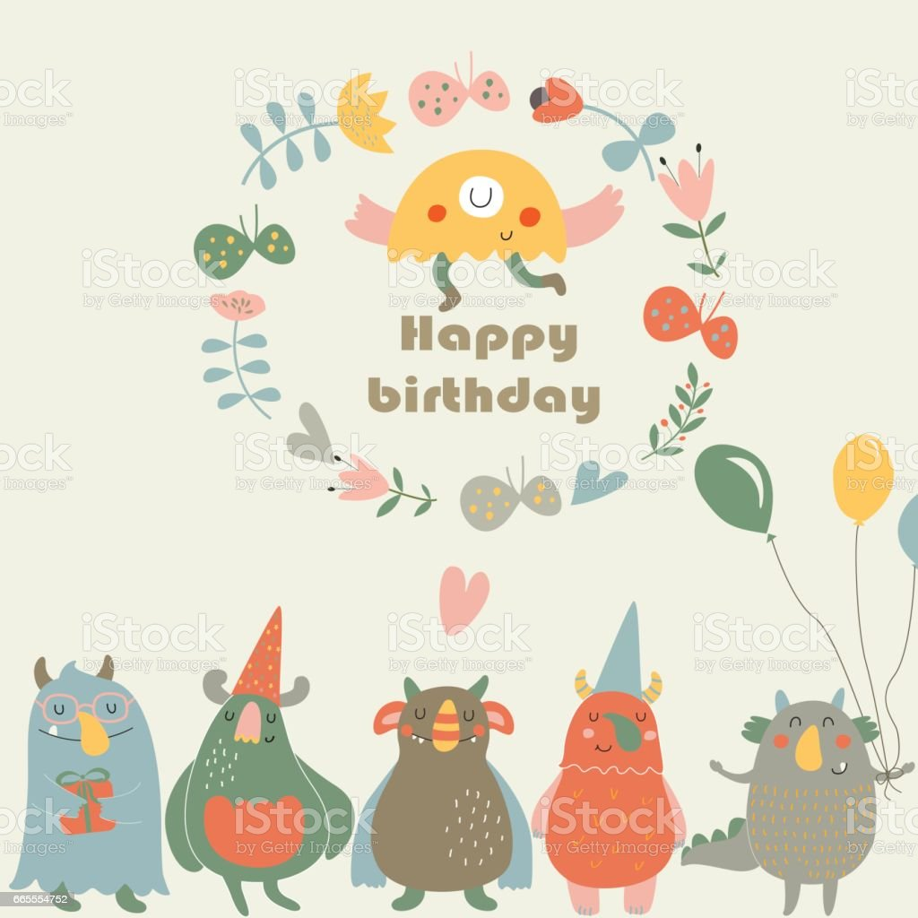 birthdaymonsters vector art illustration