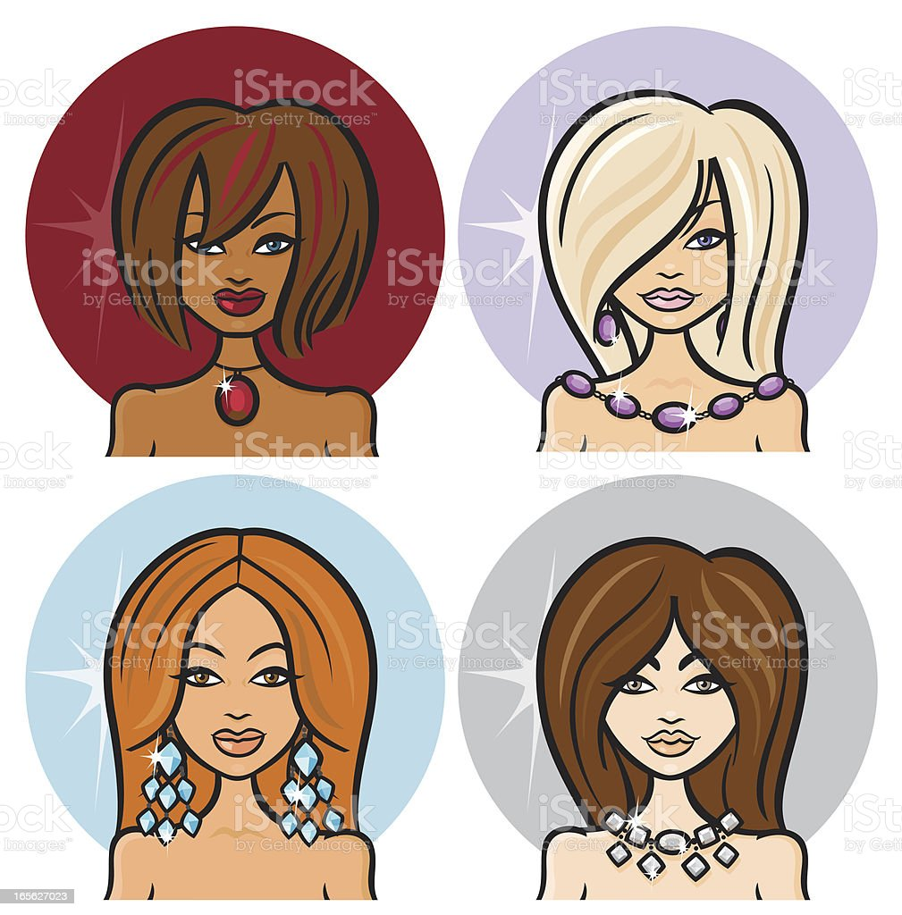 Birthstone Babes royalty-free stock vector art