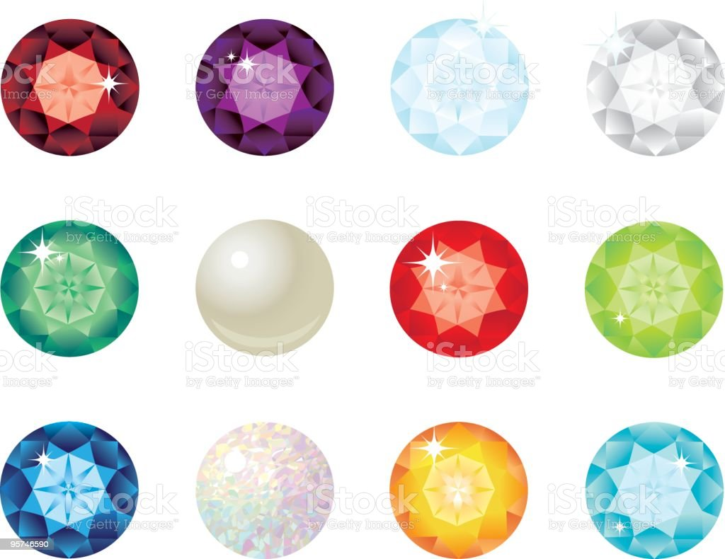 Birthstone gems for each month of the year vector art illustration