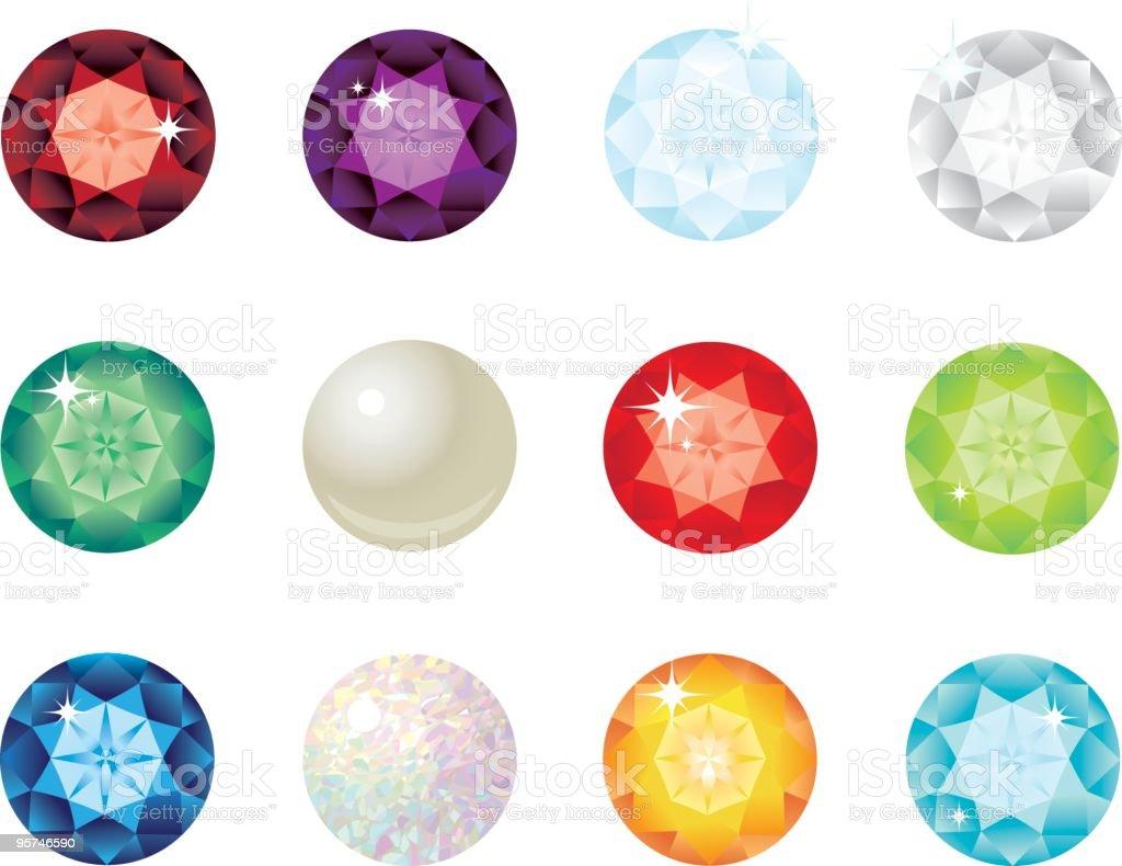 Birthstones vector art illustration