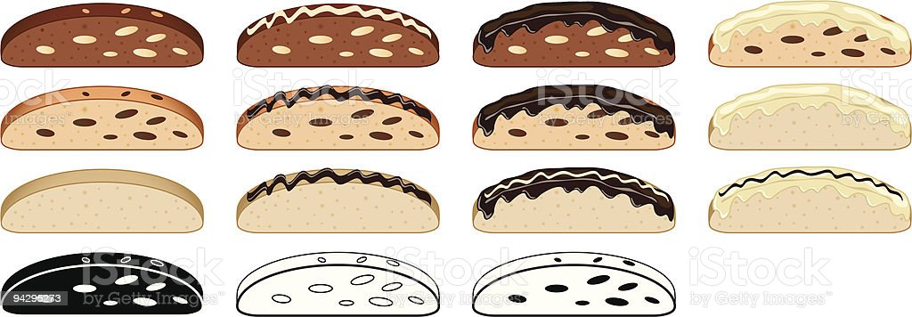 Biscotti collection vector art illustration