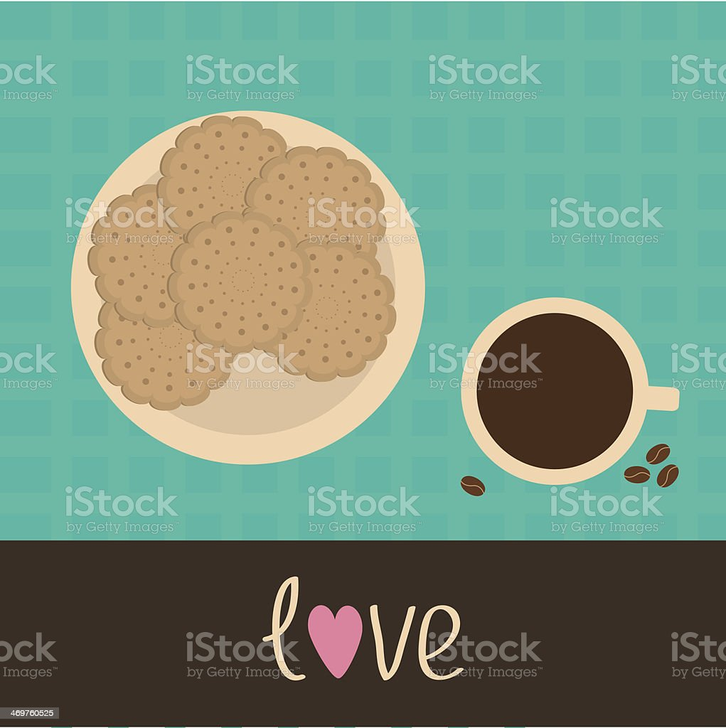 Biscuit cookie cracker on the plate and cup of coffee vector art illustration